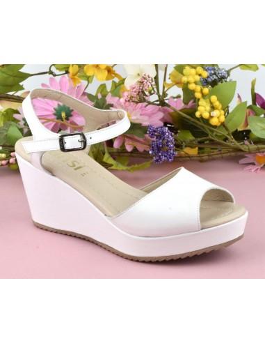 Sandales compensées, cuir lisse blanc, 8332, Dansi, femme petite pointure
