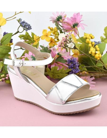 Sandales chic, talons compensés, cuir lisse blanc, 4725, Dansi, femme petite pointure