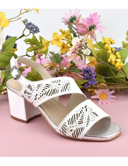 Sandales chics, talons carrés, cuir lisse blanc, 1422, Dansi, femme petite pointure