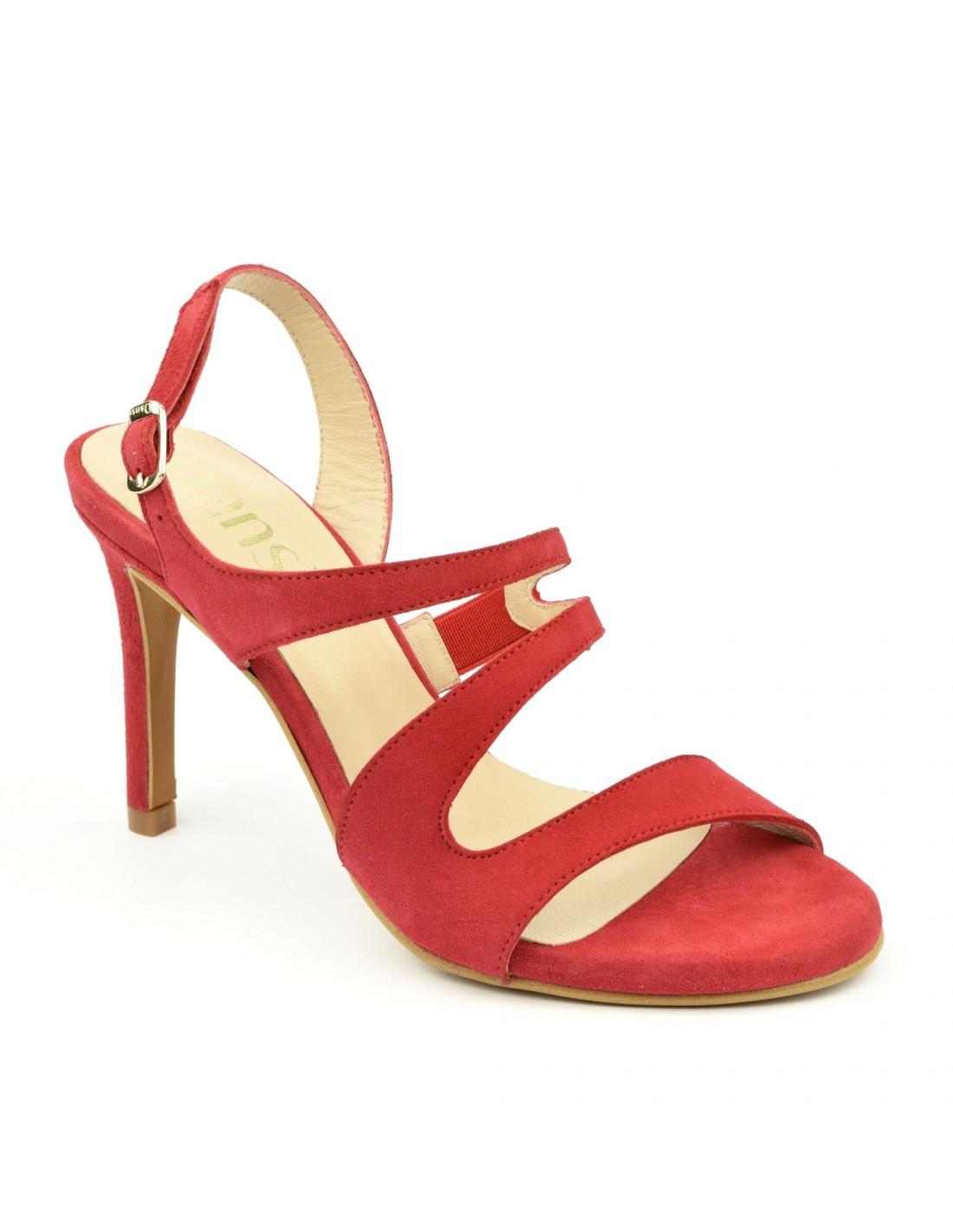 Sandales tendances, hauts talons fins, cuir daim rouge, 1506, Dansi
