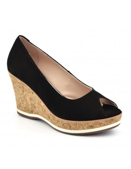 chaussures compensées, daim noir, femme petites pointures