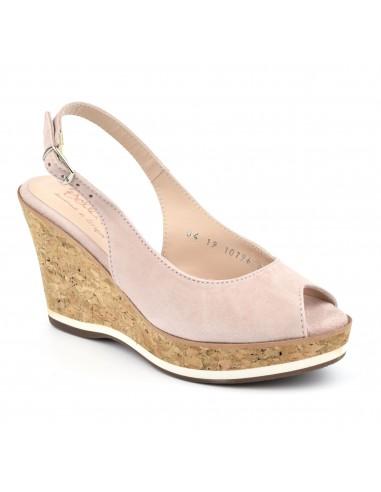 Sandales compensées daim rose, femme petites pointures