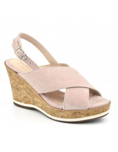 Sandales compensées daim rose poudré, petits pieds femme