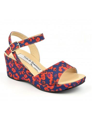 Sandales compensées bleu et orange, femme petites pointures