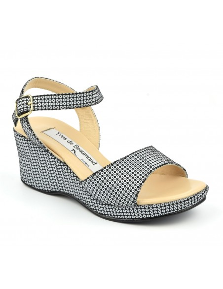 Sandales compensées, noir, et ronds blancs, femme petites pointures