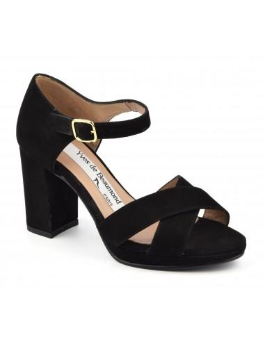 Sandales, haut talon carré, daim noir, MI 636, Yves de Beaumond