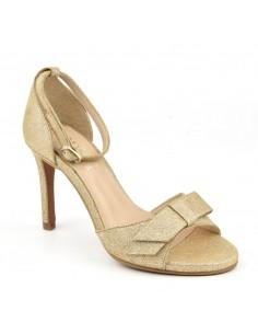 Sandales de soirée, hauts talons fins, cuir pailleté or, 8478, Dansi, femme petite pointure