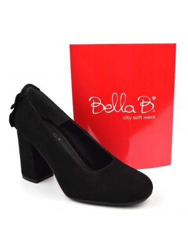 Escarpins talons épais, cuir suédine, noir, Bleko, Bella B, pointure 33, pointure 34