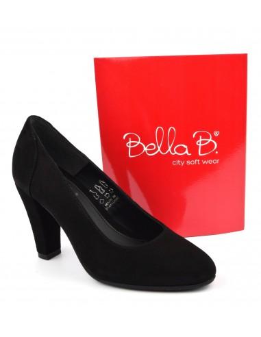 Escarpins talons épais, cuir suédine, noir, Valot, Bella B, pointure 33, pointure 3