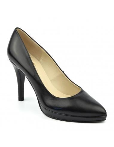 Escarpins plateforme, cuir lisse noir, femme petites pointures