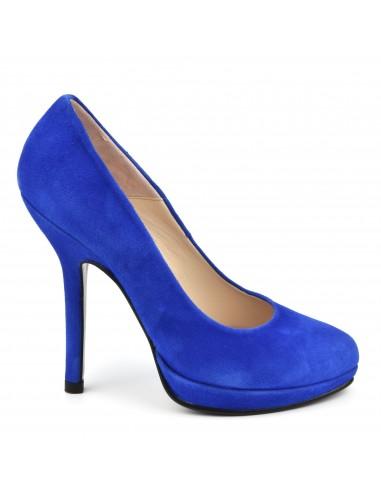 Escarpins très hauts talons, daim bleu royal, petite pointure