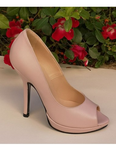 Escarpins, peep-toe, cuir lisse rose pâle, femme petites tailles