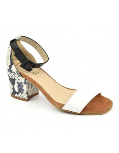Sandales talons carrés, blanc et serpent, femme petites pointures, Dansi
