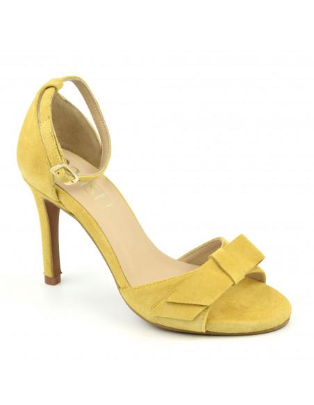 Sandales, bride cheville, hauts talons, cuir daim jaune moutarde, femme petites pointures, Dansi