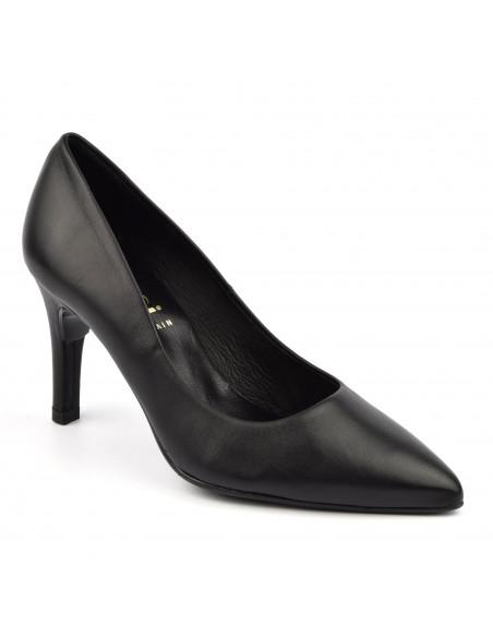 Escarpins cuir lisse noir, 8433 Dansi, petites pointures - Vu de l'avant