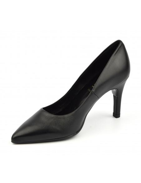 Escarpins cuir lisse noir, 8433 Dansi, petites pointures - Vu diagonale intérieure