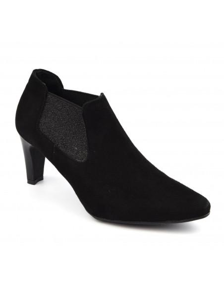 Low boots daim noir, femme petites pointures, Lubi, J.Metayer