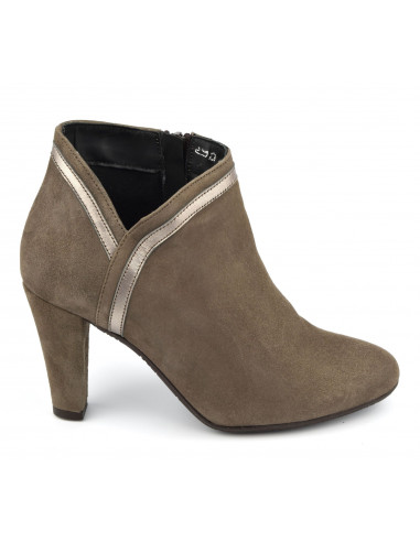 Bottines daim taupe, femme petites taille 33, taille 34, Vanny, Bella B
