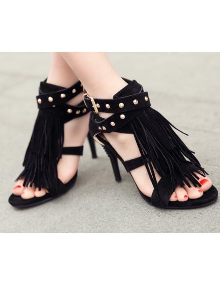 """Sandales noires """"Violette"""" petite pointure femme"""